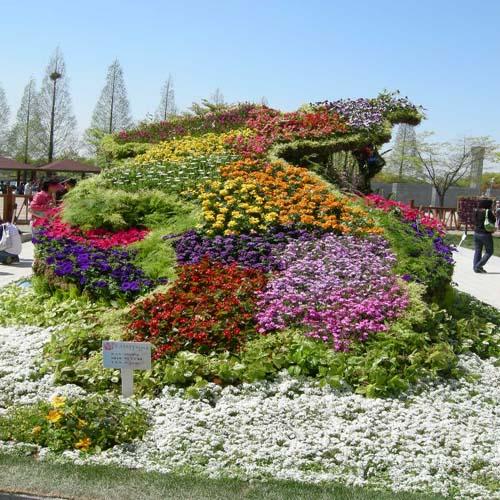 꽃잔디와 여러꽃을 이용한 조형물